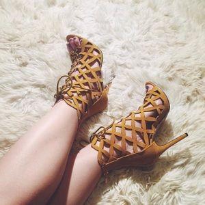 Liliana Suede Mustard Caged Heels